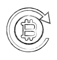 Figure bitcoin sign currency with round arrow vector