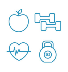 fitness lifestyle elements icons vector image