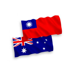 Flags australia and taiwan on a white vector