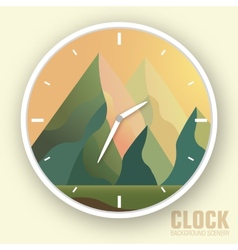 Flat colorful nature mountain clock vector