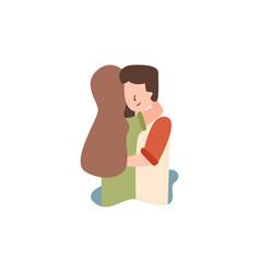 Flat guy hugs his girlfriend vector