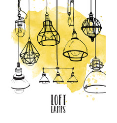 Flyer with modern edison loft lamps vintage vector
