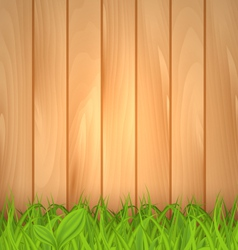 Freshness spring green grass and wooden wall vector