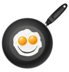 Frying pan with smile egg vector