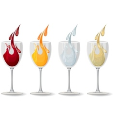 glasses with different drinks on white vector image