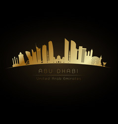 golden logo abu dhabi city skyline vector image