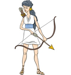greek goddess artemis cartoon vector image