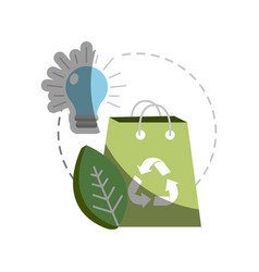 Green bag with recycle sign bulb and leaf vector