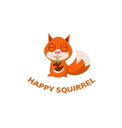 Happy squirrel with walnut sits vector