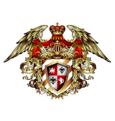 Heraldic shield with a crown and wings richly vector