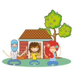 Hippie cute cartoons vector
