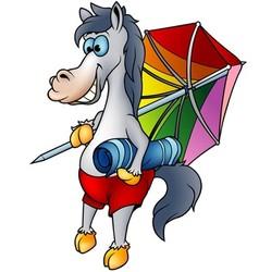 Horse And Beach Umbrella vector image