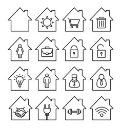 houses linear icons set vector image