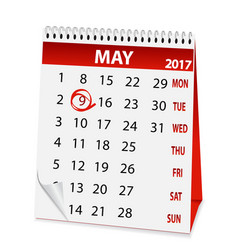 Icon calendar for may 9 2017 vector