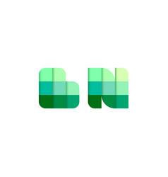 initial letters bn b n pixel brick logo design vector image