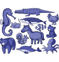 Isolated set many animals in purple color vector