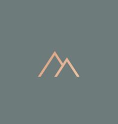 Line mount rock icon logo travel adventure vector