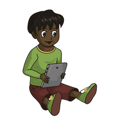 Little preschooler boy with electronic tablet vector