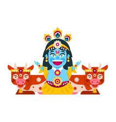 Lord krishna sitting in cows environment vector