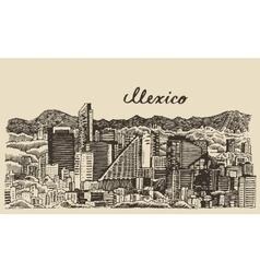 Mexico skyline vintage engraved Sketch vector