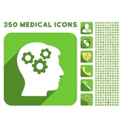 Mind Icon and Medical Longshadow Icon Set vector image