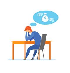 Money problem financial trouble flat vector