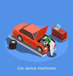 motor mechanic isometric background vector image