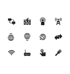 Networking icons on white background vector
