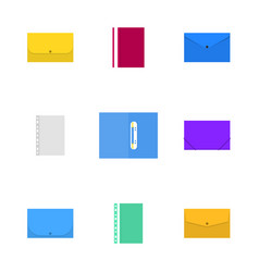 office icons set of plastic folders vector image