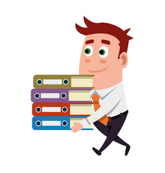 office worker carrying folders vector image