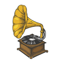 Old fashioned gramophone sketch engraving vector