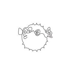 one continuous line drawing cute pufferfish vector image