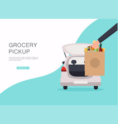 Order groceries online pick up point in food vector