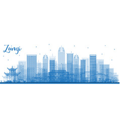 Outline zunyi china city skyline with blue vector