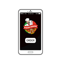 pizza house order mobile vector image