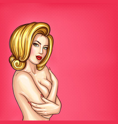 Pop art sexy girl covers her breast vector