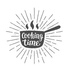 Pot silhoutte with lettering - cooking time vector
