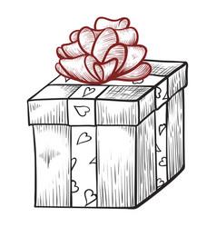 present box with ribbon icon celebration vector image