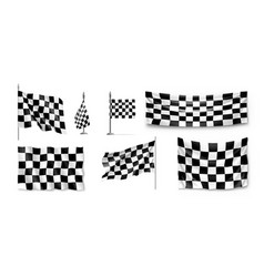 racing flags set realistic vector image