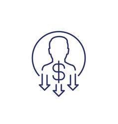 Reduce labor costs line icon vector