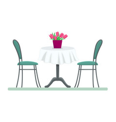 restaurant table with chairs and a bouquet vector image