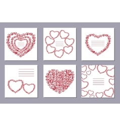 Romantic collection with 6 cards doodle hearts vector image