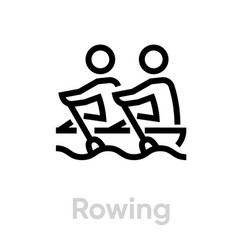 rowing sport icons vector image
