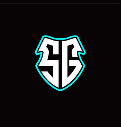 s g initial logo design with a shield shape vector image