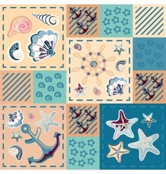 seamless pattern with colorful sea creatures vector image vector image