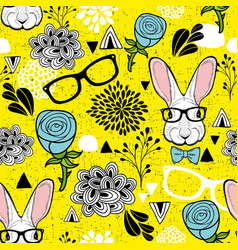 Seamless pattern with hipster rabbit art vector
