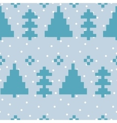 Seamless pattern with New Year 8 bit trees vector