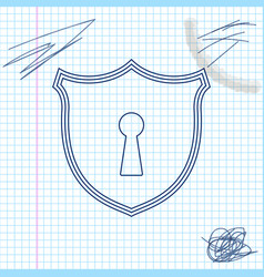 shield with keyhole line sketch icon isolated on vector image