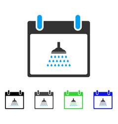 Shower calendar day flat icon vector