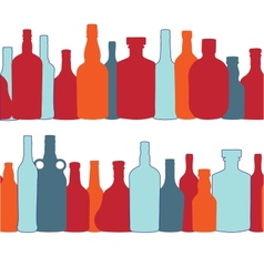 silhouette alcohol bottle seamless pattern vector image